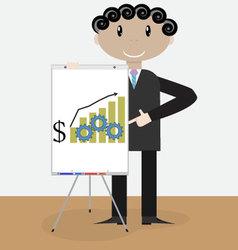 Success man presentation growth money vector