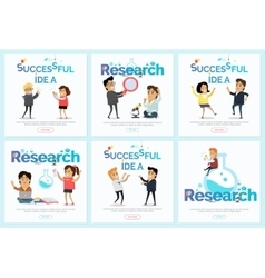 Successful Idea and Research Banners Set vector image