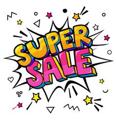 super sale message in pop art style vector image