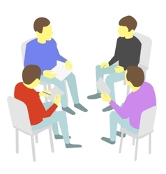Talks Group of business Four people team meeting vector