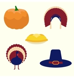 Thanksgiving set of icons vector image vector image