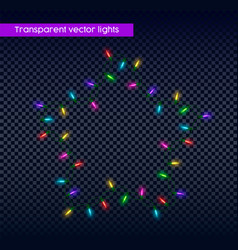 Transparent christmas lights holiday decoration vector
