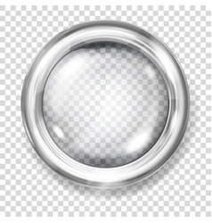 Transparent glass button vector