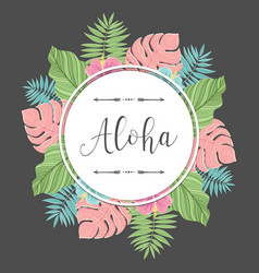 tropical round label with colorful palm leaves vector image