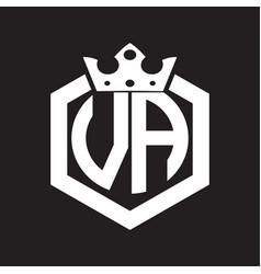 va logo monogram rounded hexagon shape vector image