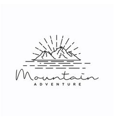 vintage hipster line art mountain adventure logo vector image