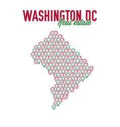 Washington dc real estate properties map text vector