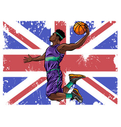 watercolor silhouette basketball player vector image