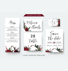 Wedding menu table number label save the date card vector
