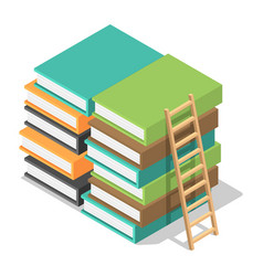 wood ladder on stack books icon isometric style vector image