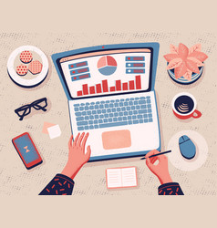 Working from home data analysis top view vector