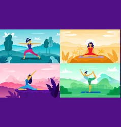 yoga exercise on nature relax outdoors exercises vector image