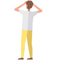 Young faceless man holds hands in front face vector