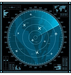 Blue radar screen with planes vector image vector image