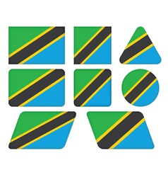 buttons with flag of Tanzania vector image vector image