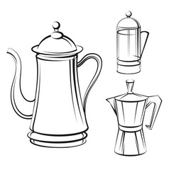 coffee pot sketch set vector image vector image