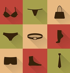 collection of silhouettes of underware and vector image vector image