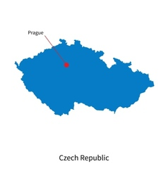 Detailed map of Czech Republic and capital city vector image