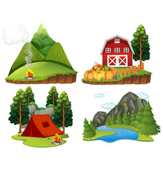four nature scenes on white background vector image