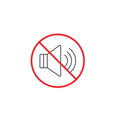 no noise line icon no sound red prohibited sign vector image vector image