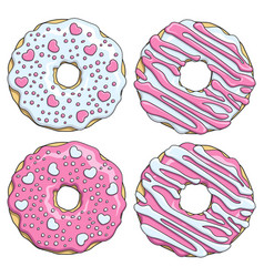 set of pink and white donuts decorated with hearts vector image vector image