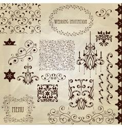 set vintage design elements vector image