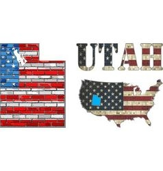 USA state of Utah on a brick wall vector image vector image