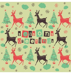 Vintage Deer Seasons Greetings vector image vector image