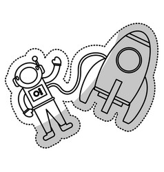 astronaut rocket exploration outline vector image vector image