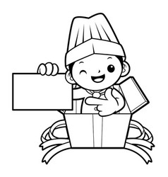 black and white funny cook mascot show the vector image