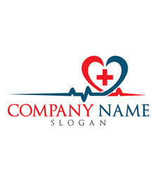 Blood pressure and heart cheering cardiogram logo vector