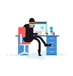 isolated hacker sits near computer vector image