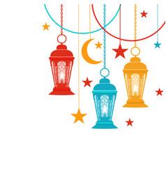 ramadan kareem trans-colored lanterns in oriental vector image vector image