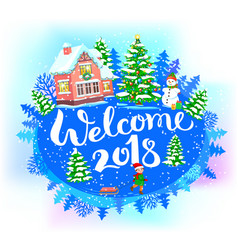 round new year banner welcome 2018 vector image vector image
