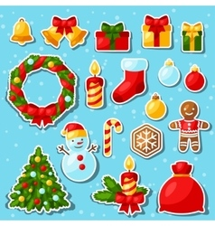 Set of Merry Christmas and Happy New Year sticker vector image