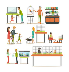 set of zoo-shop concept flat style design vector image