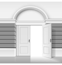Shop Building Store with Open Door on Background vector image