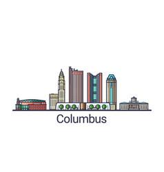 flat line columbus banner vector image vector image