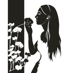 Girl with flower in black 04 vector image