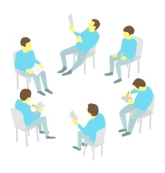 Group of business Five people team meeting vector image