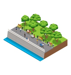 Isometric Landscaping Composition With People vector image vector image