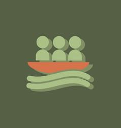 Rafting kayaking team design in sticker style vector