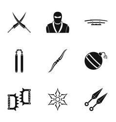 samurai icons set simple style vector image