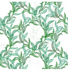 seamless pattern with green line leaves vector image vector image