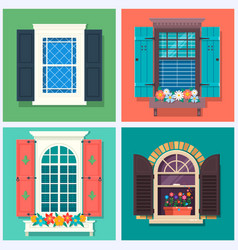 set of detailed various colorful windows with vector image vector image