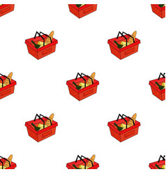 shopping basket full of groceries icon in cartoon vector image