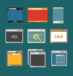 Web browsers flat design collection vector image