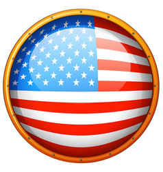 flag of america in round badge vector image vector image