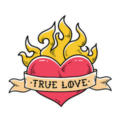 flaming heart tattoo with ribbon true love vector image