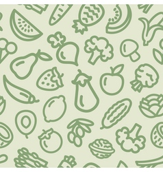 Fruits Vegetables pattern green vector image